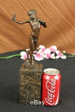 100% Vintage Bronze Pendant Boy Cast Statue Sculpture Figurine Art Deco Decor