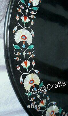 107x107cm Black Marble Dining Room Table Top Art Vintage Inlaid Table