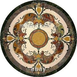 127x127cm Unique Restaurant Top Table Marble Dining Room Vintage Art Inlaid