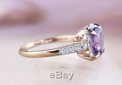 14k Solid Natural Amethyst Diamond Ring Art Deco Vintage Djr0013