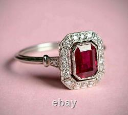 14k White Gold 1.75ct Red Emerald Diamond Cup Vintage Art Deco Ring Halo