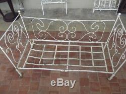 1900 Old Bed, Bench, Vintage Art Nouveau Sofa Metal, Antique Bed, Bench