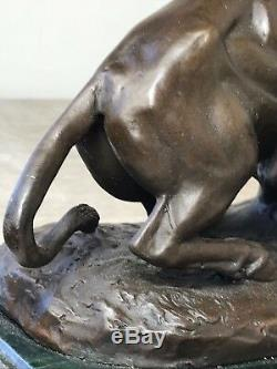 1 End Decorative Vintage Bronze Lioness Hunt Prey Buffalo Sculpture Signed