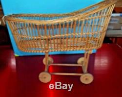 1 Old Cradle Wicker Doll Vintage Collection 1910 Rare Home Decor