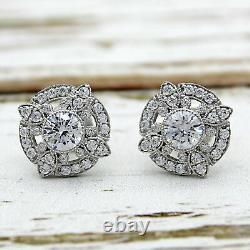 2.00 Ct Diamond Round Vintage Art Deco Earrings 14k White Or On