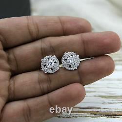 2.00ct Round Cup Art Deco Diamond Vvs1/d Vintage Clou Loops 10k Or White Fn