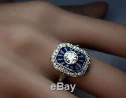 2.10ct Moissanite Round Art Deco Vintage Engagement Ring Solid 14k White Gold