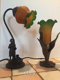 2 Vintage Lamps Old Art Nouveau Art Deco Bronze