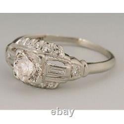 3/4 Ct Round Cup Art Deco 14k White Gold Vintage Finish Old Engagement