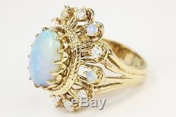 3.85 Carats Art Deco Vintage Old Opal Diamond Ring Coktail 1920s