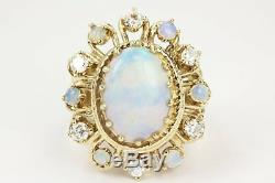 3.85tcw Art Deco Vintage Old Opal Diamond Cocktail Ring 1920s Watermark