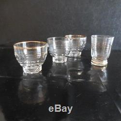4 Glasses Cups Edging Gold Fine Art Deco Design Twentieth Vintage Made In France N3152