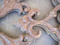 4 Old Cast Iron Grilles Sculpture Volute Shape Vintage Art Nouveau