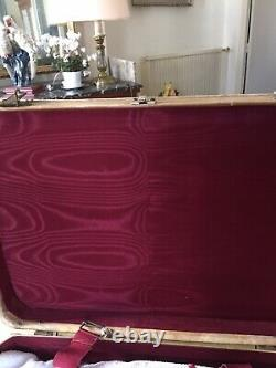 4 Suitcases Vintage Wood Covered Galuchat Year 1970 Very Good Condition