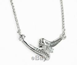 55 Pts Diamond Art Deco Vintage Value Necklace Coin In 14k White Gold