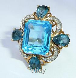 5ct Emerald Topaz Cup Ancient Art Deco L Vintage 14k Ring Yellow Gold Finish