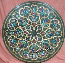 76.2cm Green Dinner Table High Shape Round Desk Incrustation With Vintage Art