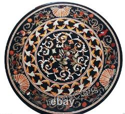 76.2cm Marble Coffee Table Top Round Patio Table With Art Vintage Decor Home