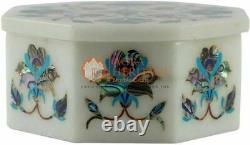 7.6cmx7.6cmx2 Marble White Jewellery Vintage Box Turquoise Marquetry Art