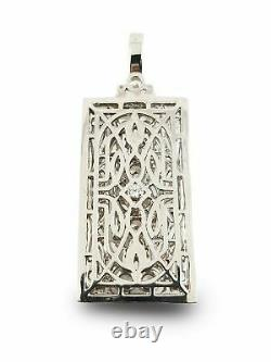 925 Silver Sterling White Pendant Rond Classic Vintage Style Art Deco