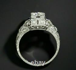 Ancient Art Deco Vintage Round Zircone 1.40 Ct Ring Wedding 925 Sterling Silver