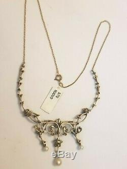 Ancient Gold Necklace Diamond Beads Victorian Vintage Gold Necklace With Beads