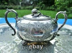 Ancient Swallow Strawberry 19th Century Silver Art New Ancient Sugar Bowl Fra