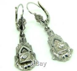Antique Art Nouveau Vintage Earrings Ans'20 Gold 18 Kt Diamonds
