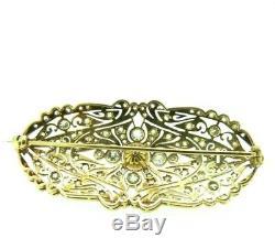 Antique Gold Brooch Art Nouveau 18 Kt Natural Diamond 2 Ct Approximately Vintage