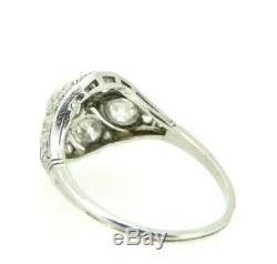 Antique Ring 18k White Gold Art Nouveau Vintage End Eight Hundred Diamonds 2.1 Ct
