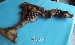 Antique Sculpture Made Main Period Art New Vigne Grappe Raisin Vintage D