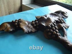 Antique Sculpture Made Main Period Art New Vigne Grappe Raisin Vintage G