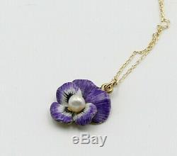 Antique Vintage 14k Gold Chain & Art Nouveau Enamelled Pearl Thought Necklace