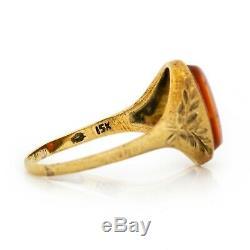 Antique Vintage 15k Gold Art Nouveau Intaglio English Sardonyx Band Ring Sz 8.75