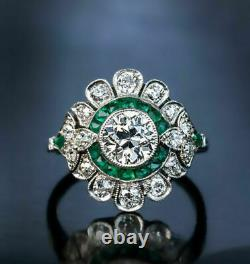 Antique Vintage Art Deco 1.75ct Zircone Engagement Wedding Silver Ring S925