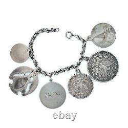 Antique Vintage Art New 925 Sterling Religious Silver Charming Giant Bracelet