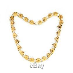 Antique Vintage Art New Gold Wash Faceted Quartz Russian Princess Necklace