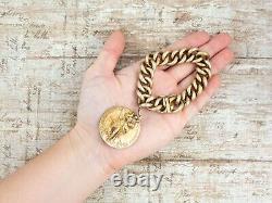 Antique Vintage Art New Sterling Silver Sterling Gold St Christophe Bracelet 111.7g