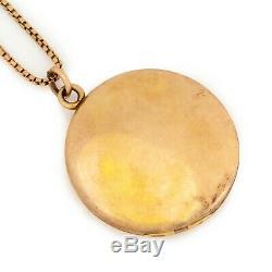 Antique Vintage Art Nouveau 14k Gold Filled Gf Fleur De Lis Paste Medallion Latch