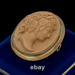 Antique Vintage Art Nouveau 14k Gold Filled Gf Washes Rock Cameo Brooch 24.1g