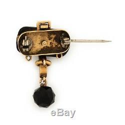 Antique Vintage Art Nouveau 14k Rose Gold & Onyx Grief Seed Pearl Brooch