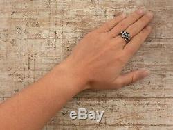 Antique Vintage Art Nouveau 14k Rose Gold Opal Stacking Five Ring Ring Sz 7.5