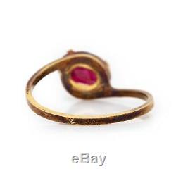 Antique Vintage Art Nouveau 14k Yellow Oval Pink Tourmaline Ring Ring Sz 5
