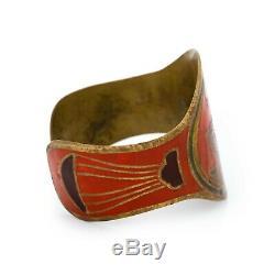 Antique Vintage Art Nouveau Brass Hand Enameled Libra Jugendstil Rigid Bracelet