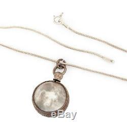 Antique Vintage Art Nouveau Silver Pool Light Glass Crystal Necklace