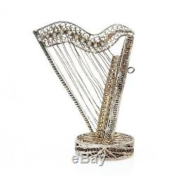 Antique Vintage Art Nouveau Sterling 800 Silver Harp Filigree Cannetille