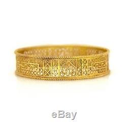 Antique Vintage Art Nouveau Sterling Silver 14k Gold Filigree Bracelet