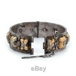 Antique Vintage Art Nouveau Sterling Silver 18k Gold Bracelet Moroccan