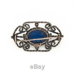 Antique Vintage Art Nouveau Sterling Silver 800 Italian Lapis Lazuli Brooch