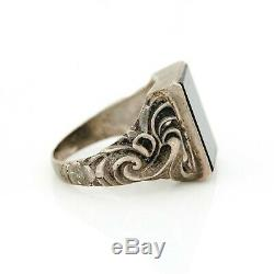 Antique Vintage Art Nouveau Sterling Silver 835 Rococo Germany Onyx Ring Sz 8.5